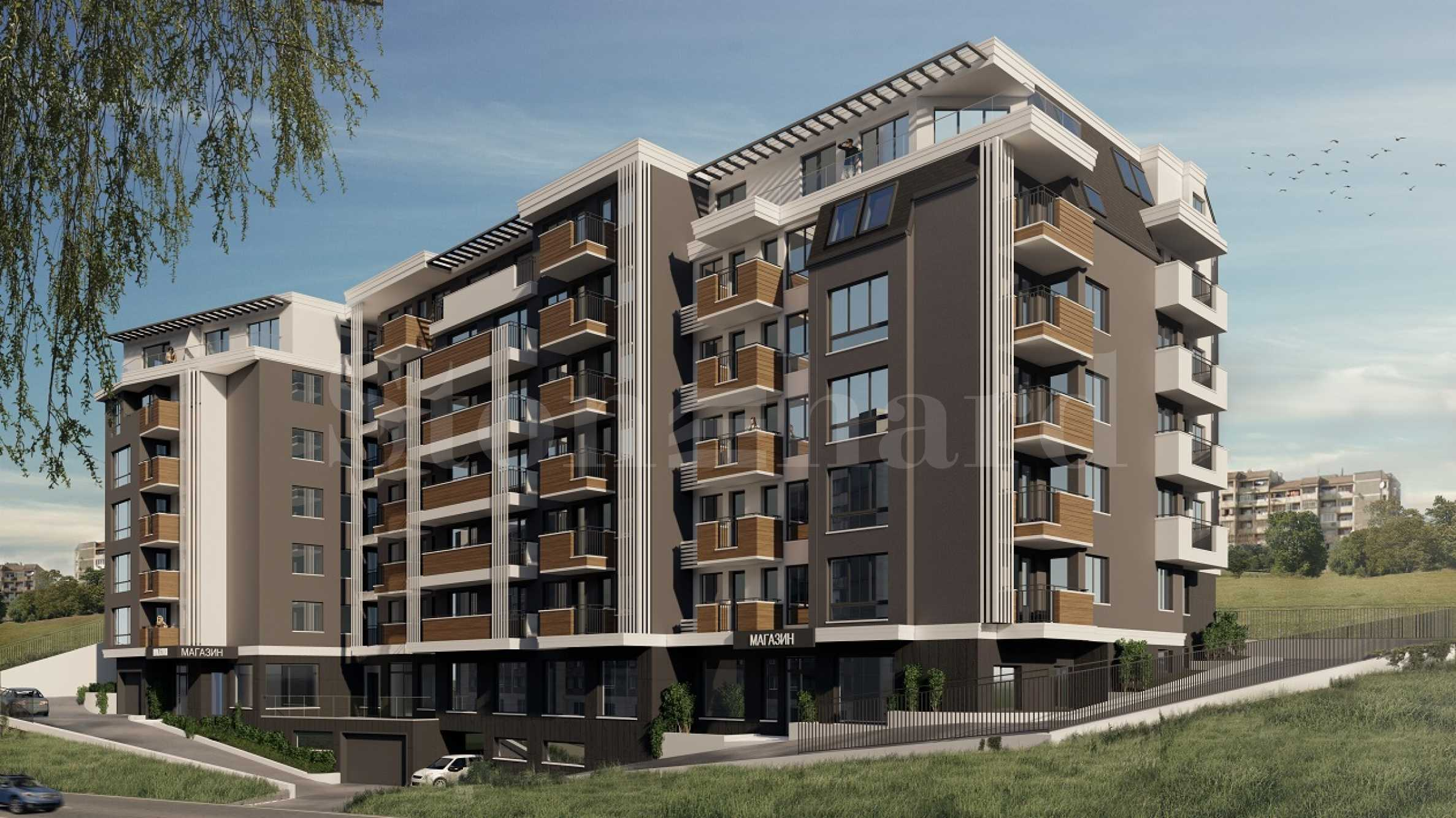 Modern building with new apartments near Vazrazhdane Park1 - Stonehard